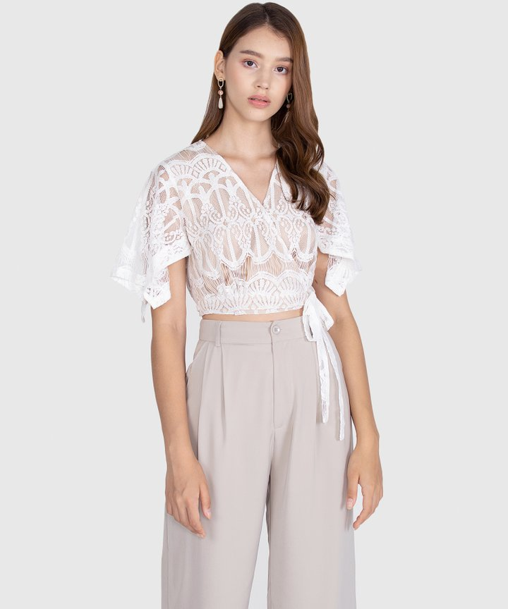 Annette Lace Cropped Blouse - White