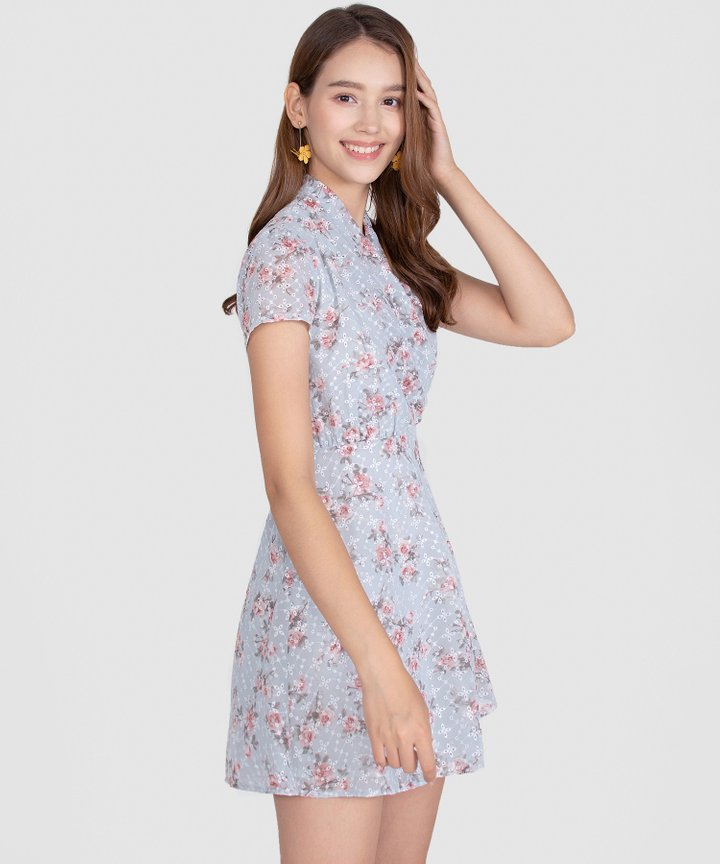 Capulet Floral Embroidered Dress - Mist Blue