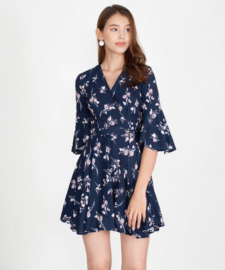 Mellow Floral Kimono Dress - Navy