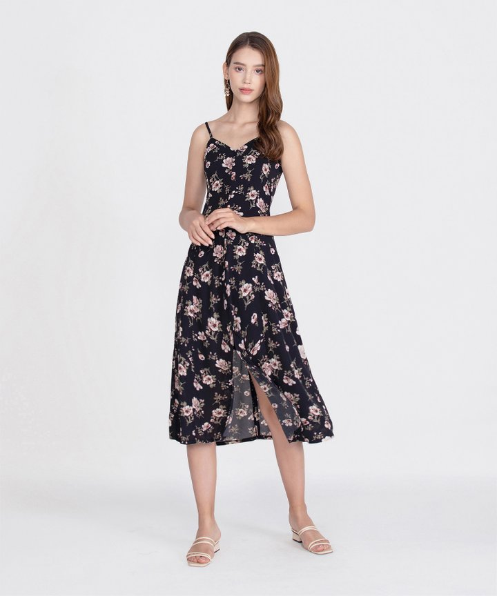 Melrose Floral Midi Dress - Black