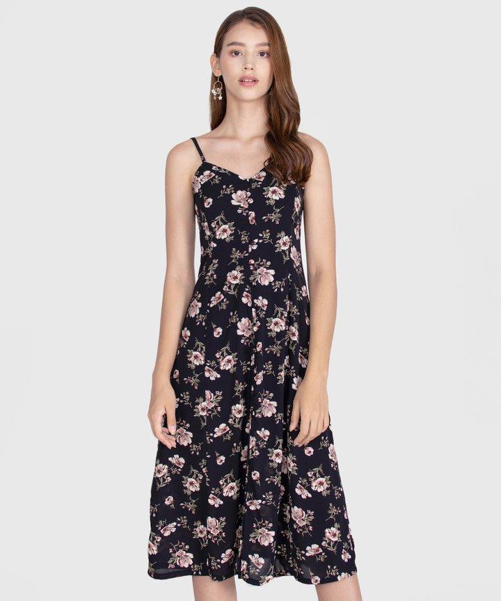 Melrose Floral Midi Dress - Black