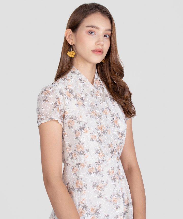 Opalescent Floral Drop Earrings