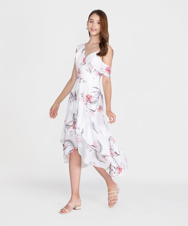 Paradis Floral Ruffle Maxi Dress - White