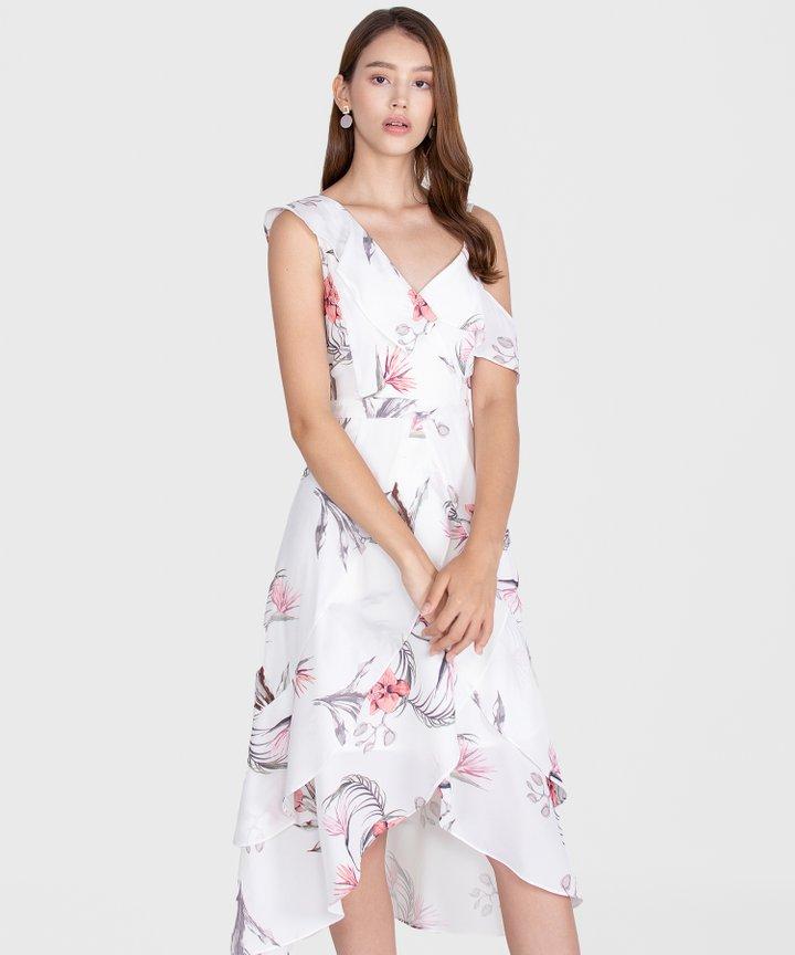Paradis Floral Ruffle Maxi - White