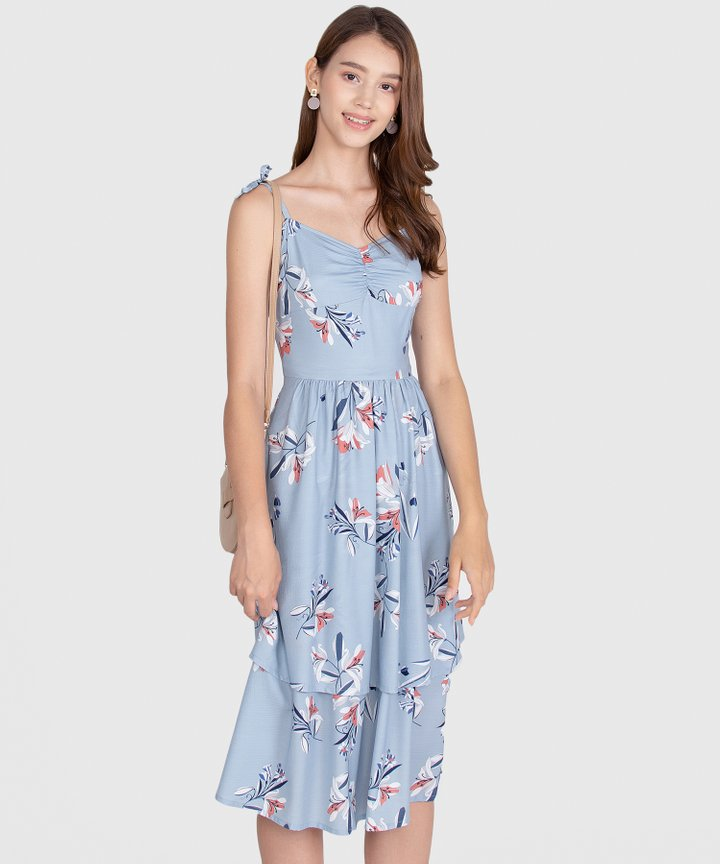 Kaia Floral Dress - Pale Blue