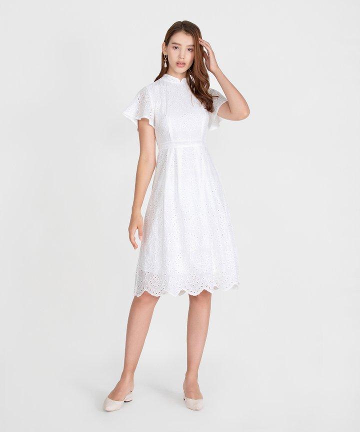 Serenity Eyelet Midi Dress - White
