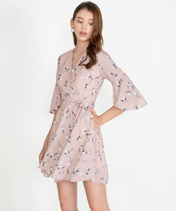 Mellow Floral Kimono Dress - Blush Pink