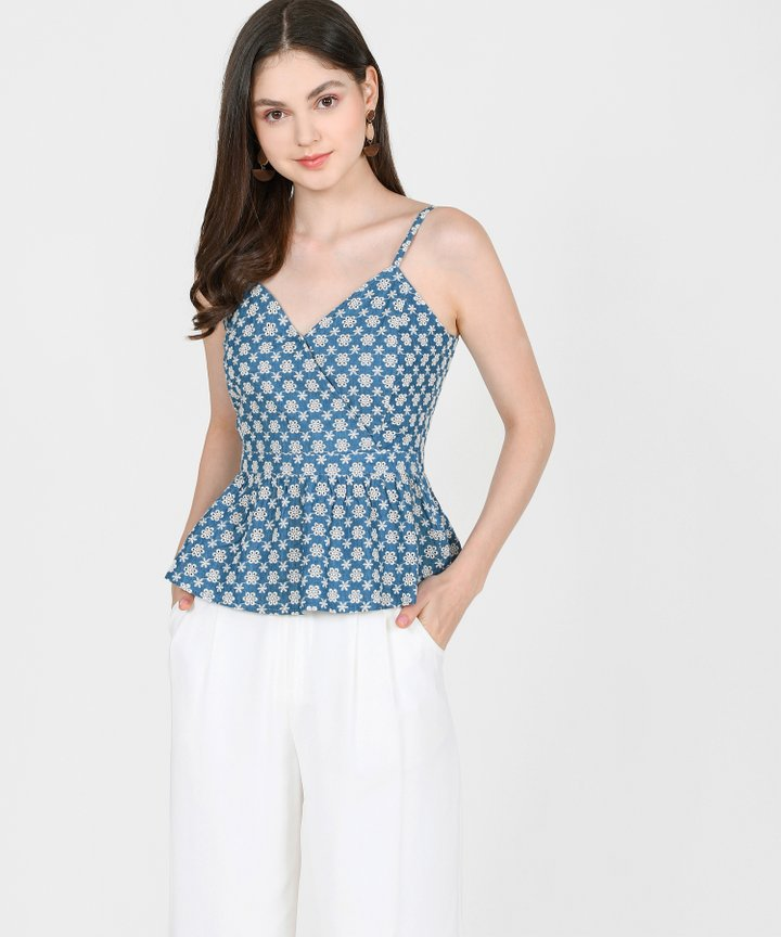 Chamomile Eyelet Peplum Top - Dark Blue