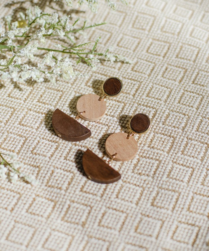 Soludos Wooden Tiered Earrings