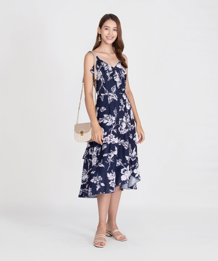 Savannah Printed Ruffle Midi - Navy