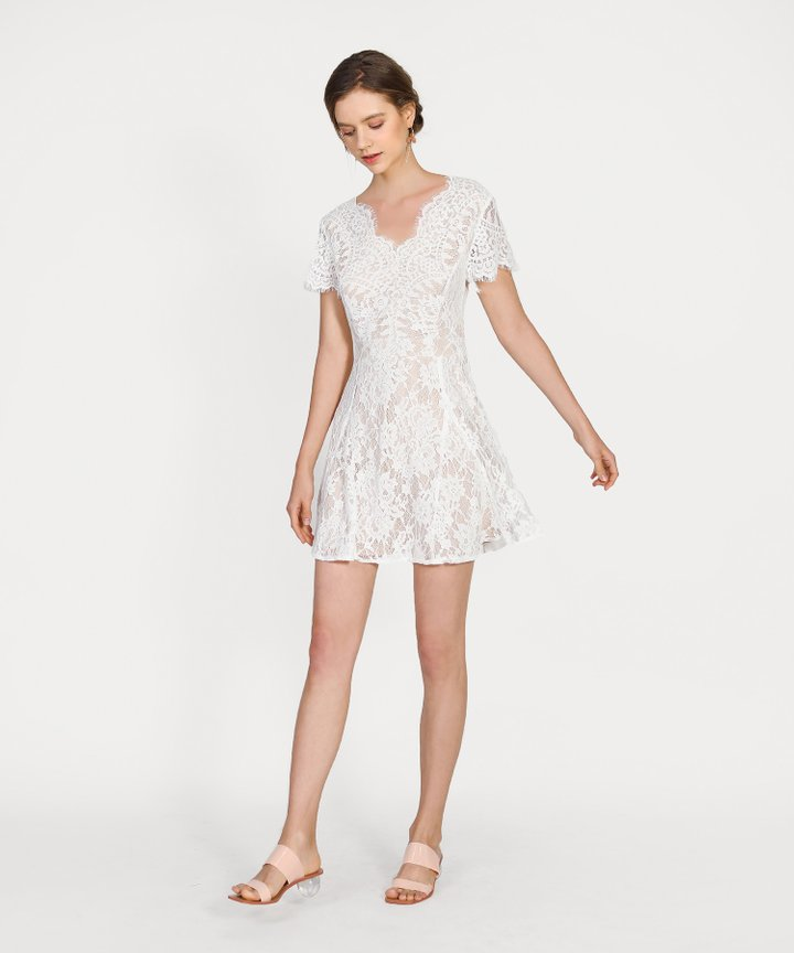 Chantilly Lace Dress - White