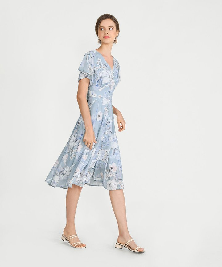Maybelle Floral Midi - Pale Blue