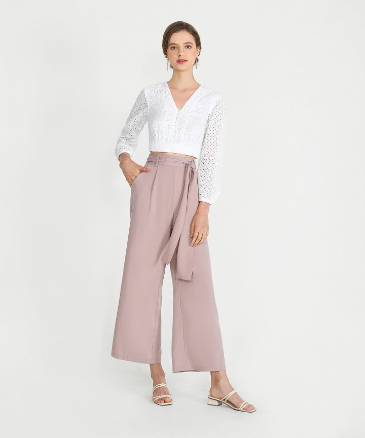 Templeton Wide-Leg Trousers - Dusk Pink (Backorder)