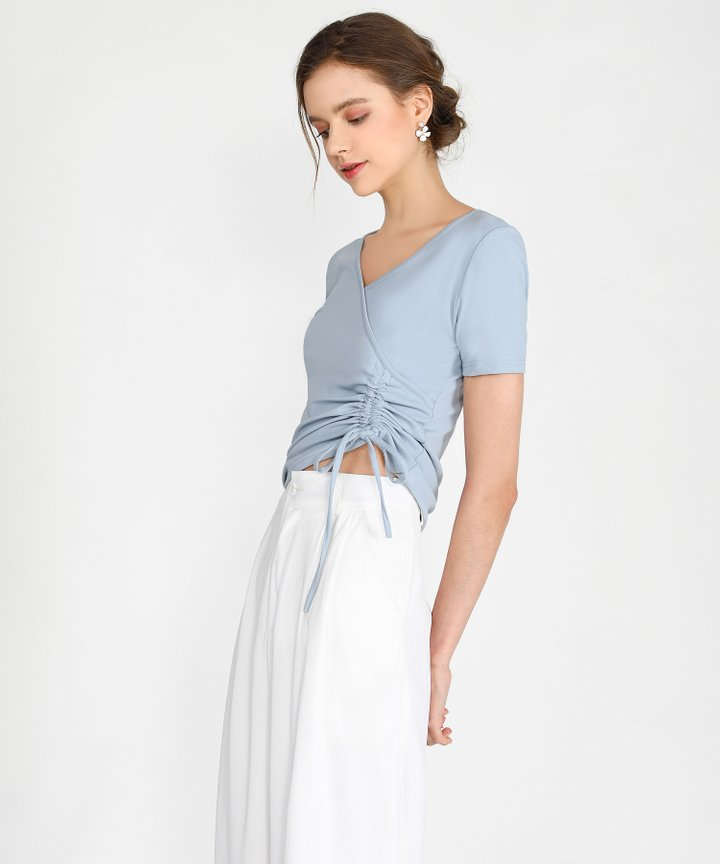 Sinead Ruched Top - Pale Blue