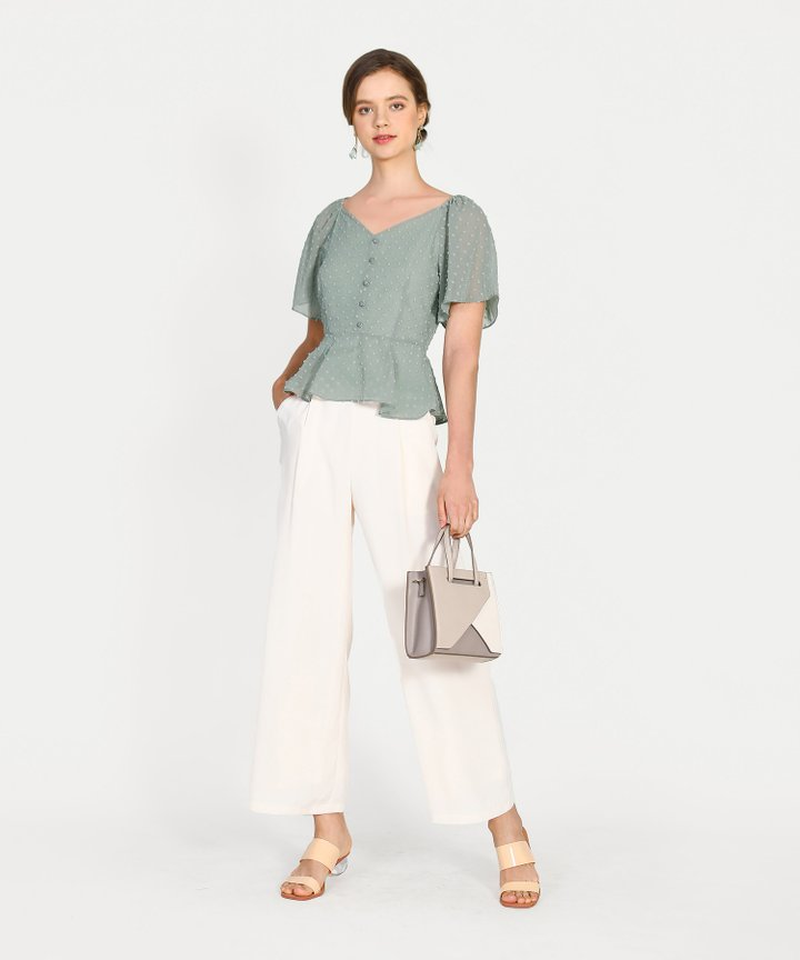 Chiara Textured Peplum Blouse - Dust Sage