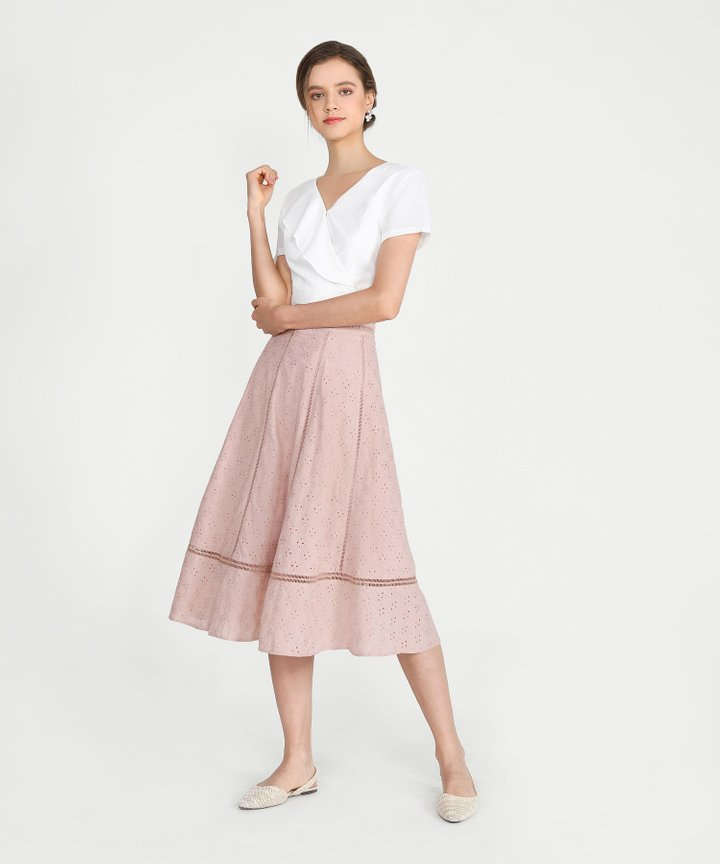 Renata Eyelet Midi Skirt - Blush