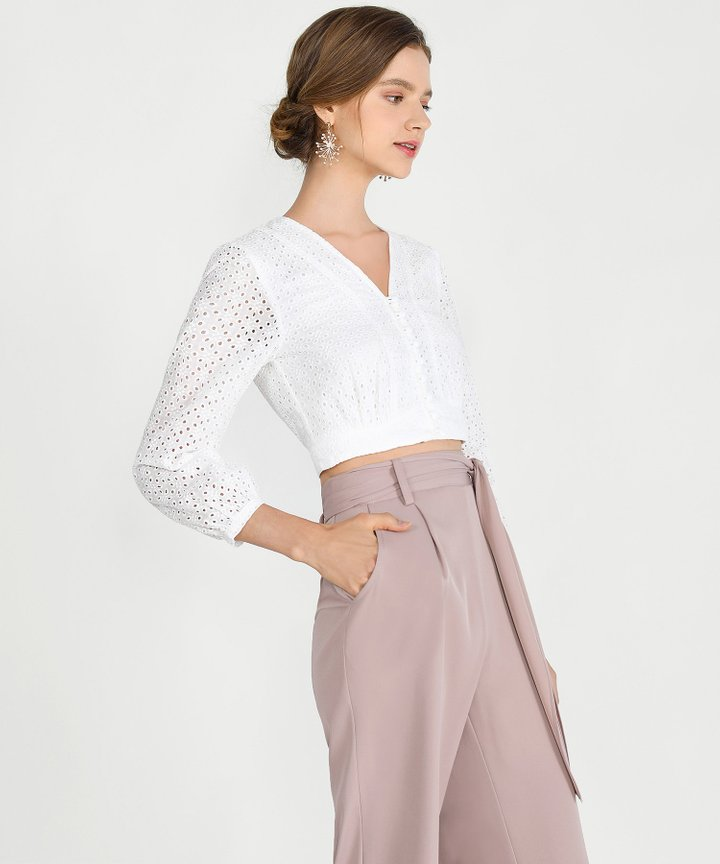 Sorbet Eyelet Cropped Blouse - White