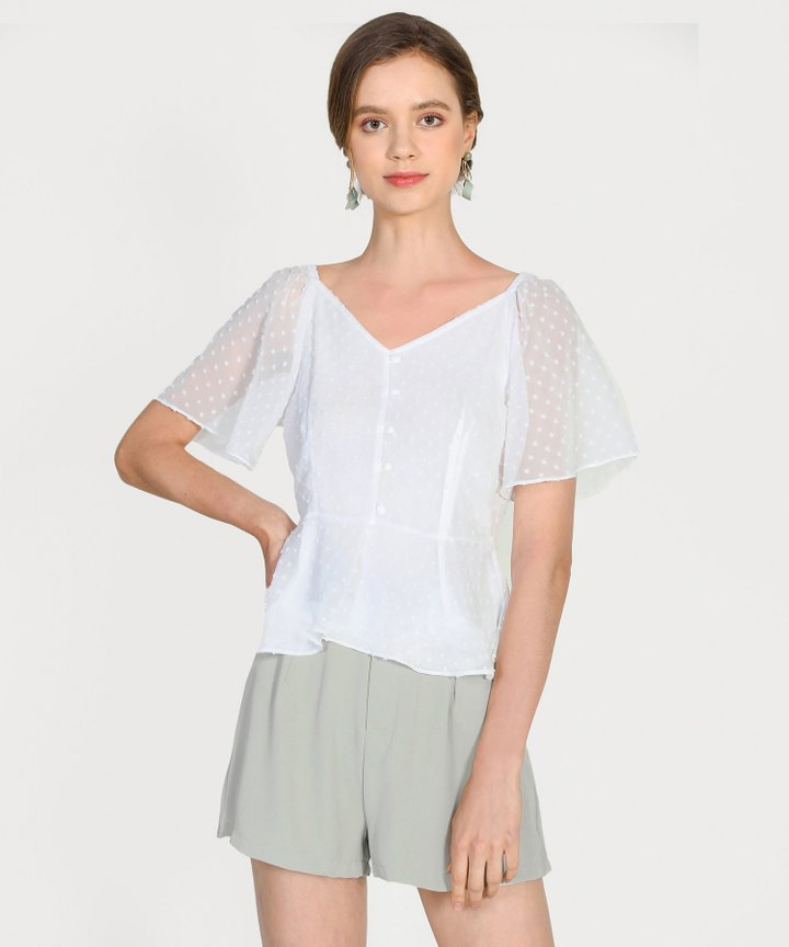 Chiara Textured Peplum Blouse - White