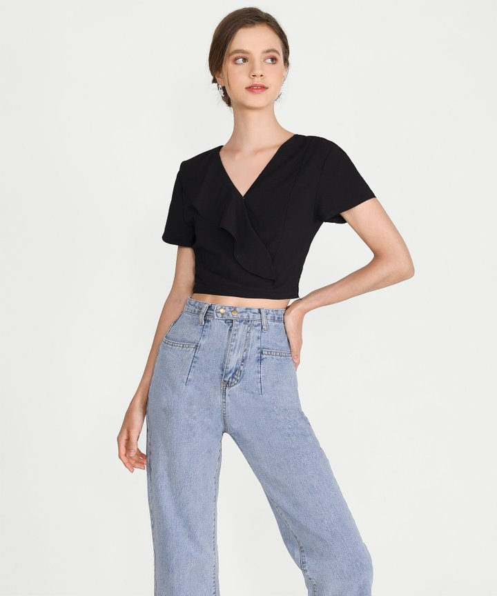Pia Ruffle Cropped Top - Black