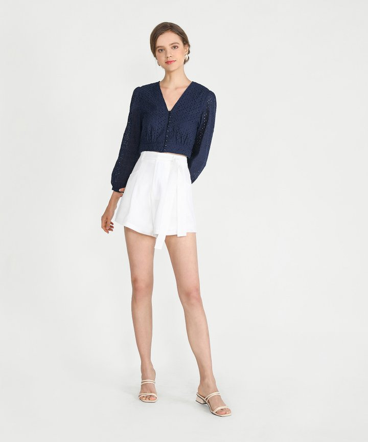 Sorbet Eyelet Cropped Blouse - Navy