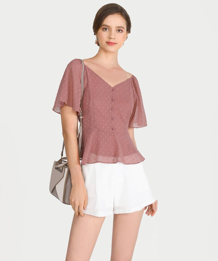 Chiara Textured Peplum Blouse - Rose