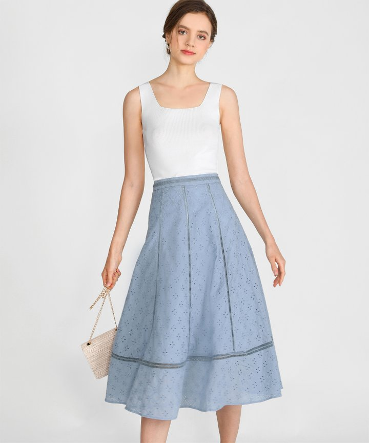 Renata Eyelet Midi Skirt - Powder Blue