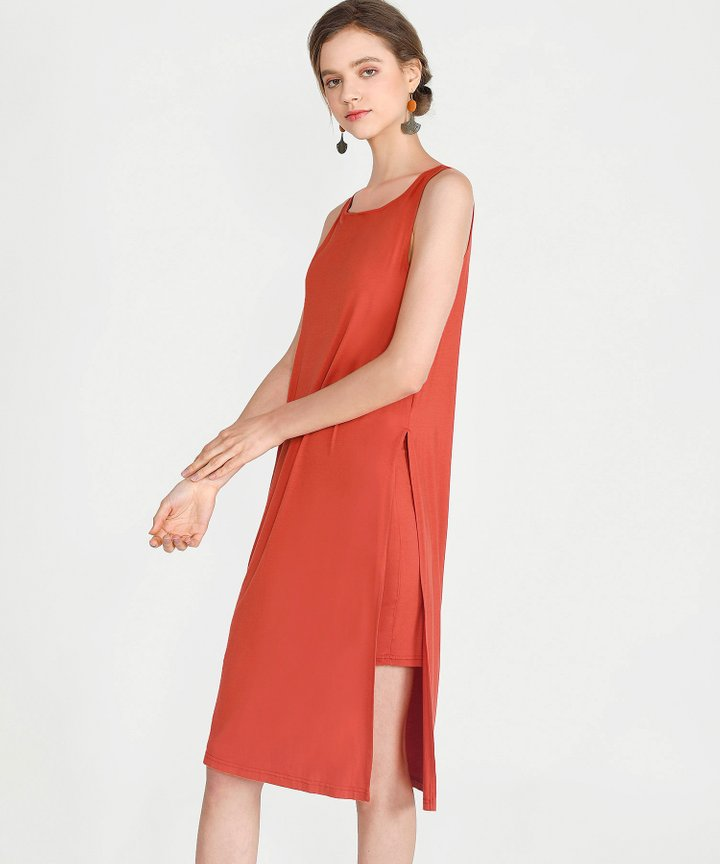 Midas Midi Dress - Vermillion