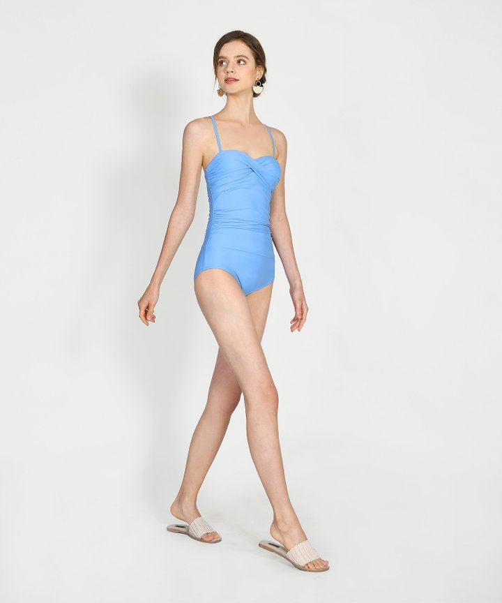 Escada Ruched Swimsuit - Sky Blue