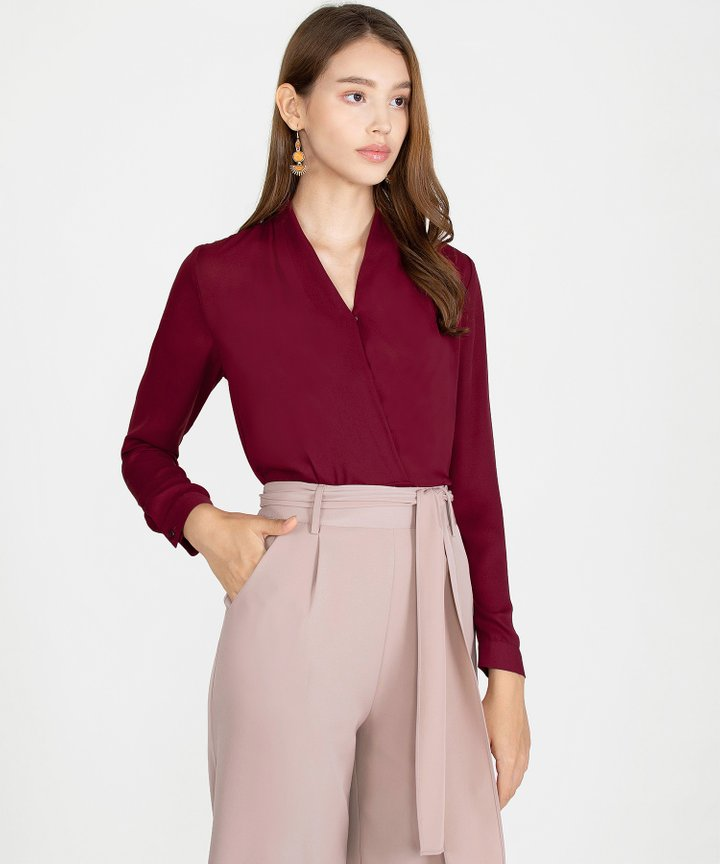 Emory Overlay Blouse - Wine (Pre-Order)