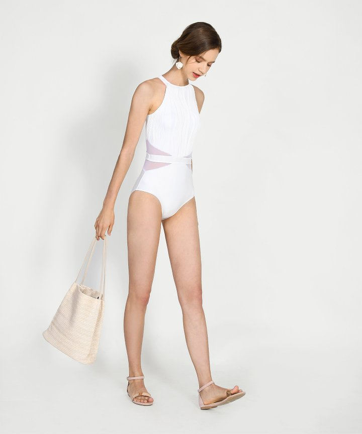 Mirage Mesh Monokini - White