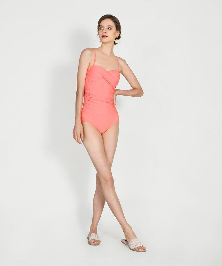 Escada Ruched Swimsuit - Coral
