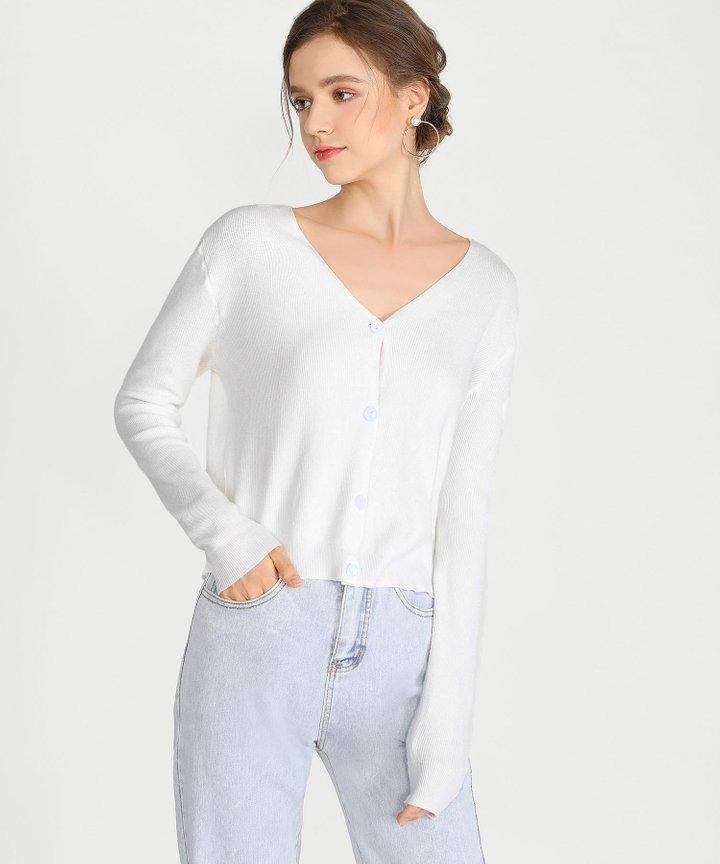 Christa Cropped Cardigan - White (Pre-Order)