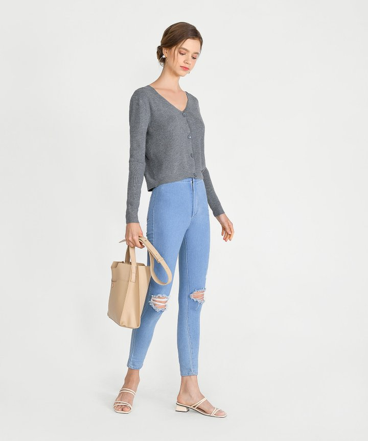 Christa Cropped Cardigan - Grey (Pre-Order)