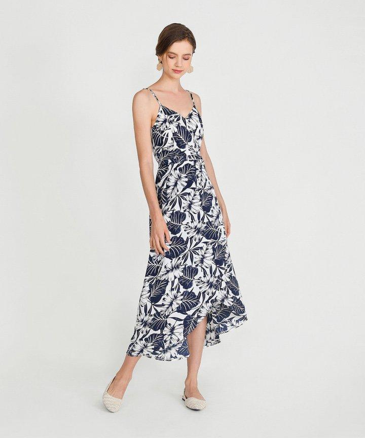 Palms Asymmetrical Dress - Midnight Blue