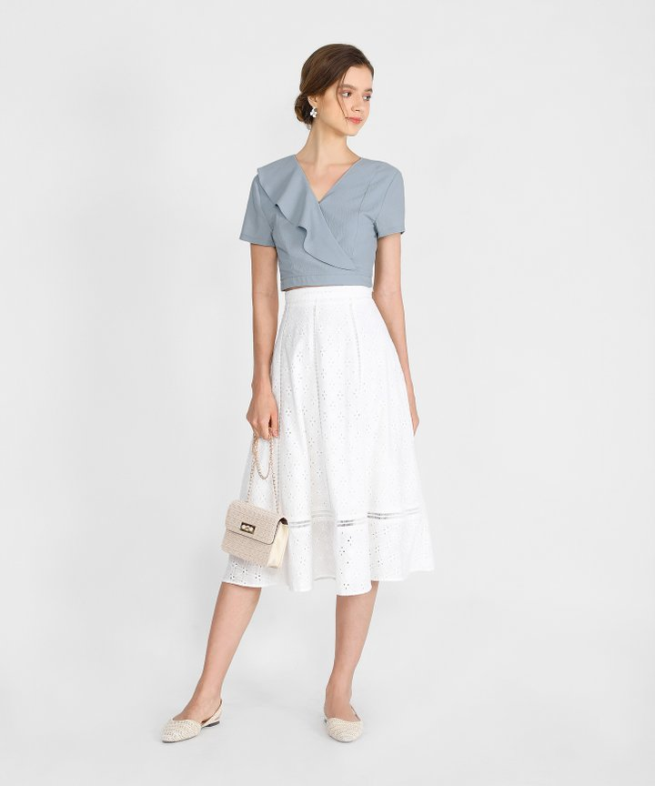 Pia Ruffle Cropped Top - Mist Blue
