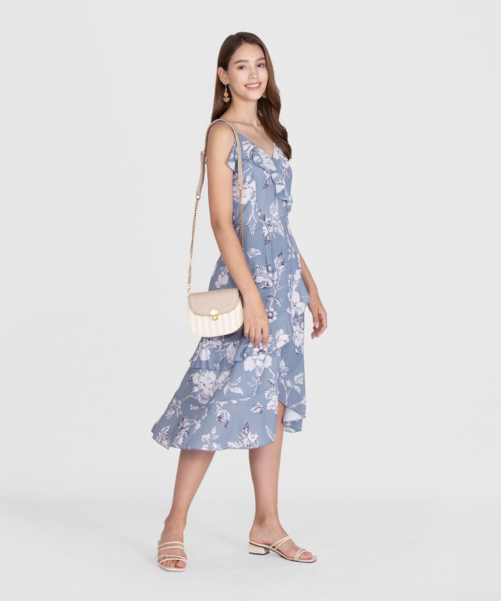Savannah Printed Ruffle Midi Dress - Mist Blue