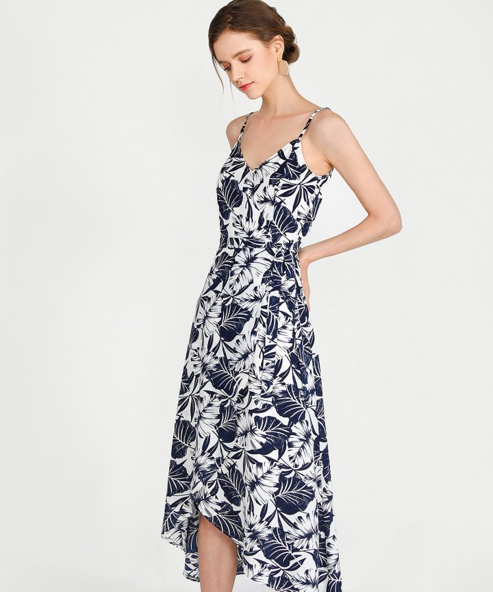 Palms Asymmetrical Dress - Midnight Blue
