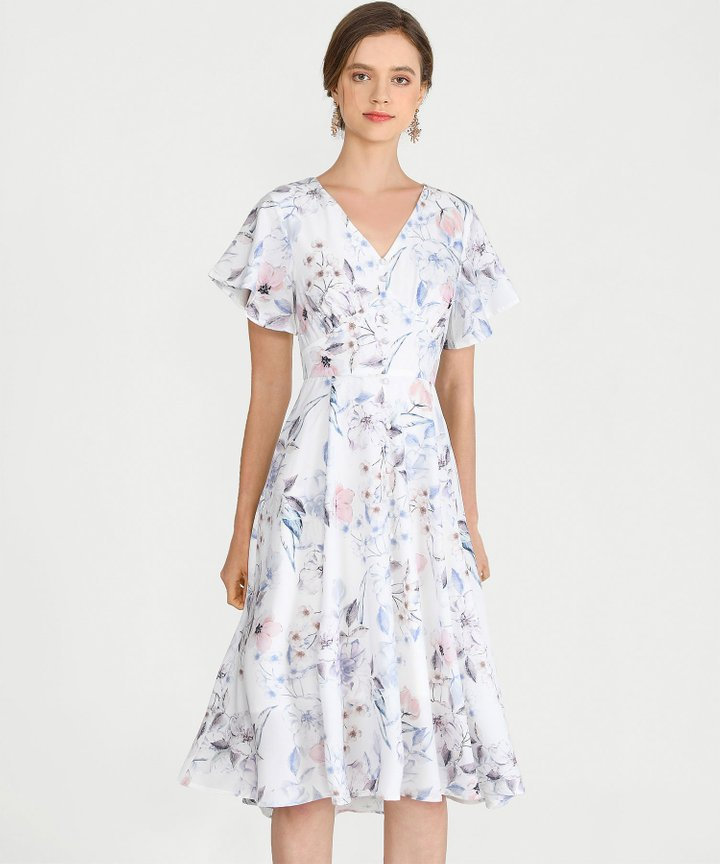 Maybelle Floral Midi - White