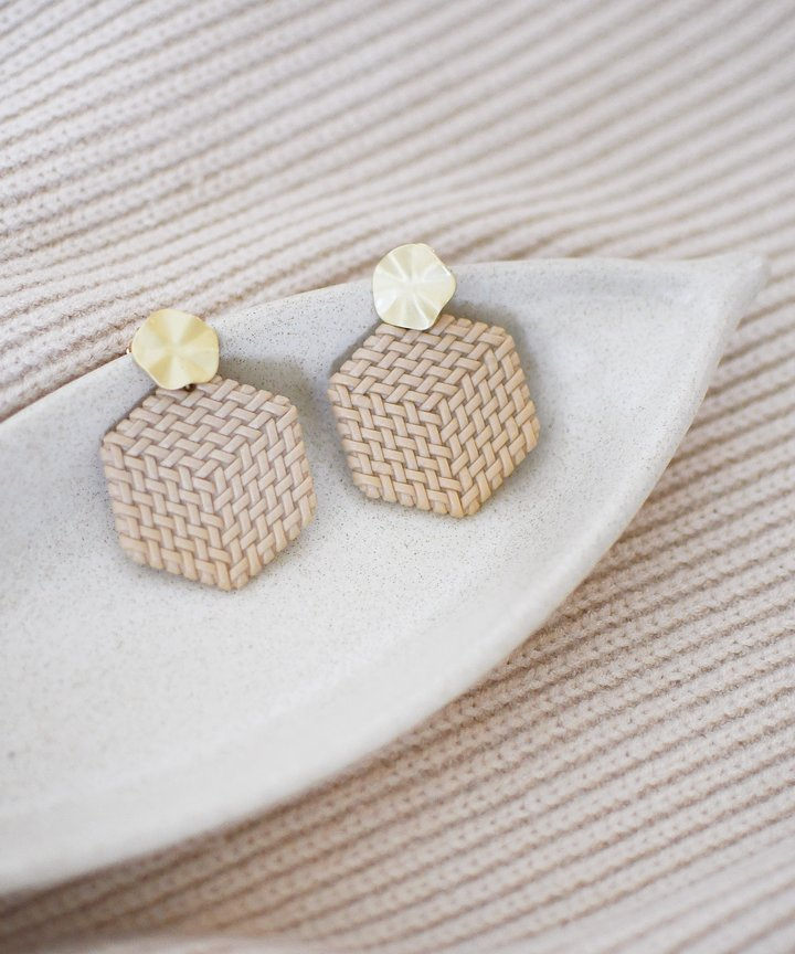 Hexagon Woven Earrings