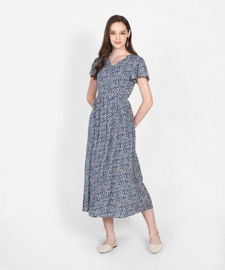 Valencia Floral Overlay Maxi Dress - Aegean Blue