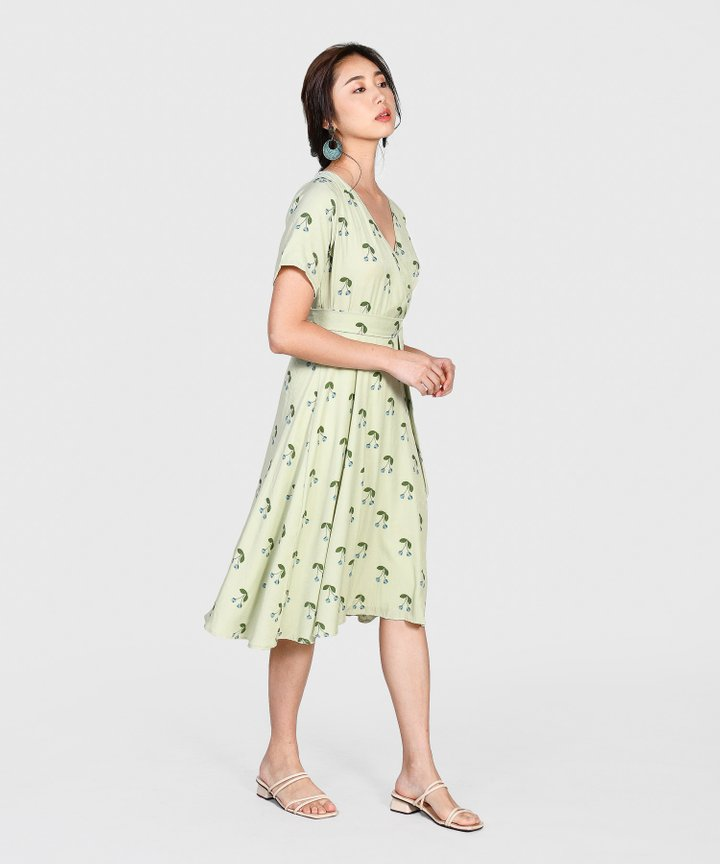 Cherry Wrap Midi - Pale Green