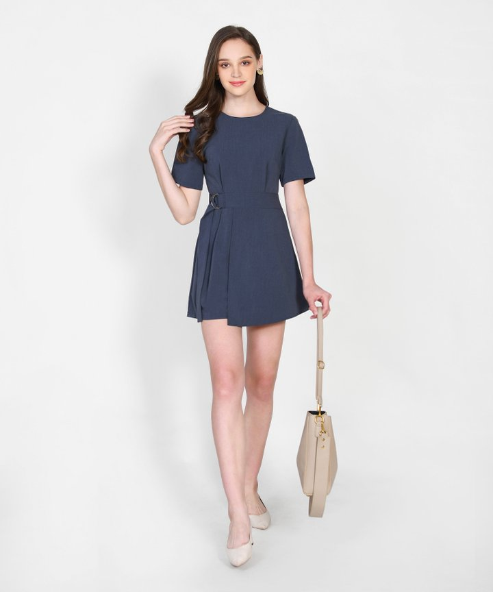 Covet Overlay Playsuit - Midnight Blue