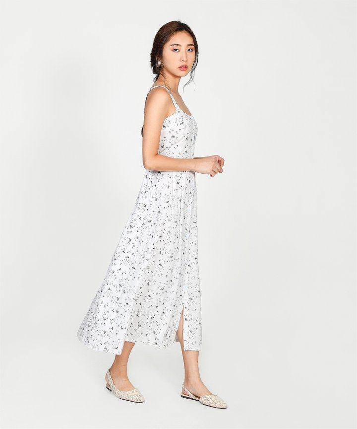 Hanneli Floral Button Down Midi - White