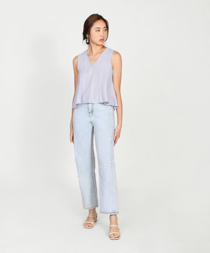 Catalina Eyelet Top - Periwinkle