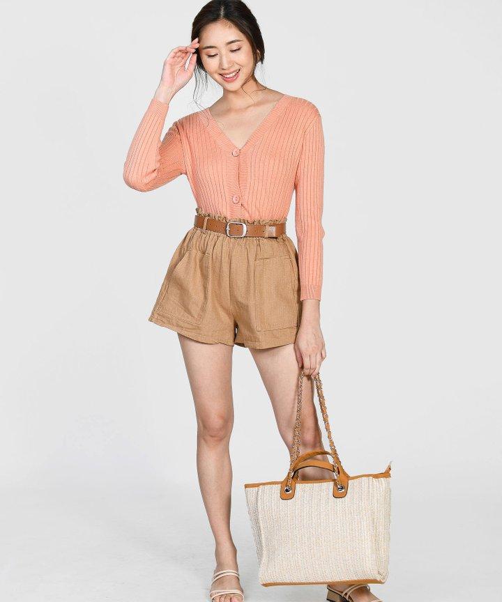 Brandis Belted Shorts - Tan