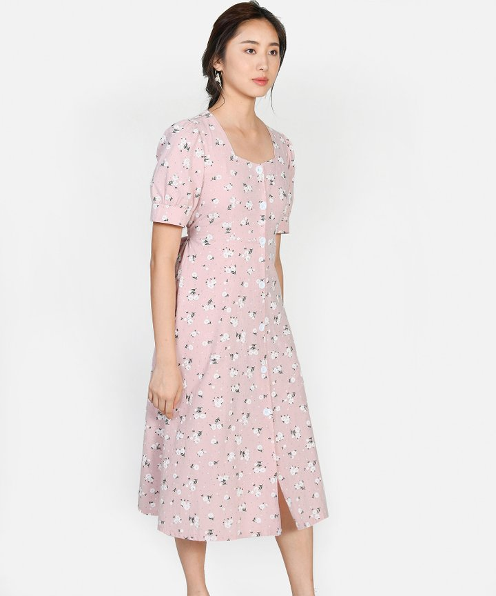 Sicily Floral Midi - Pale Pink