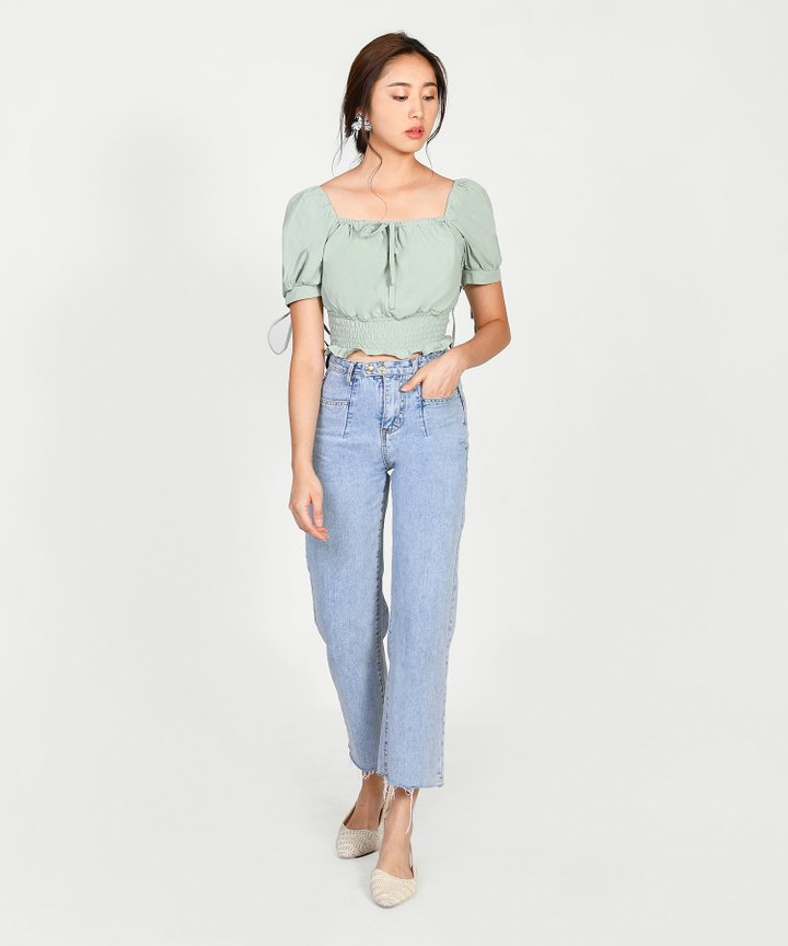 Casablanca Off-Shoulder Cropped Top - Sage