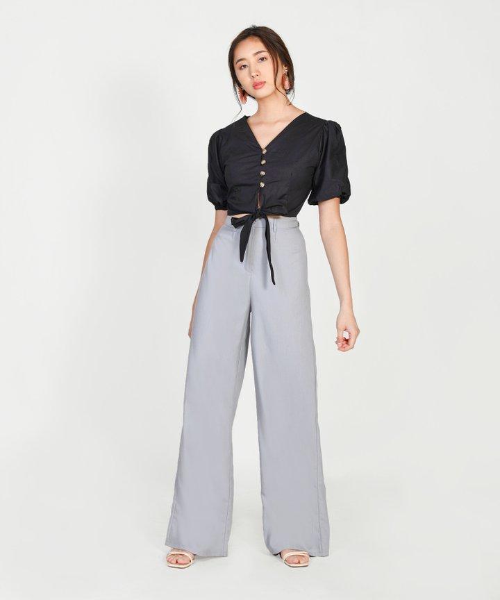 Marina Pouf-Sleeved Blouse - Black