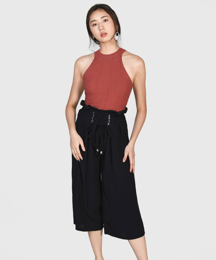 Cassidy Lace Up Culottes - Black