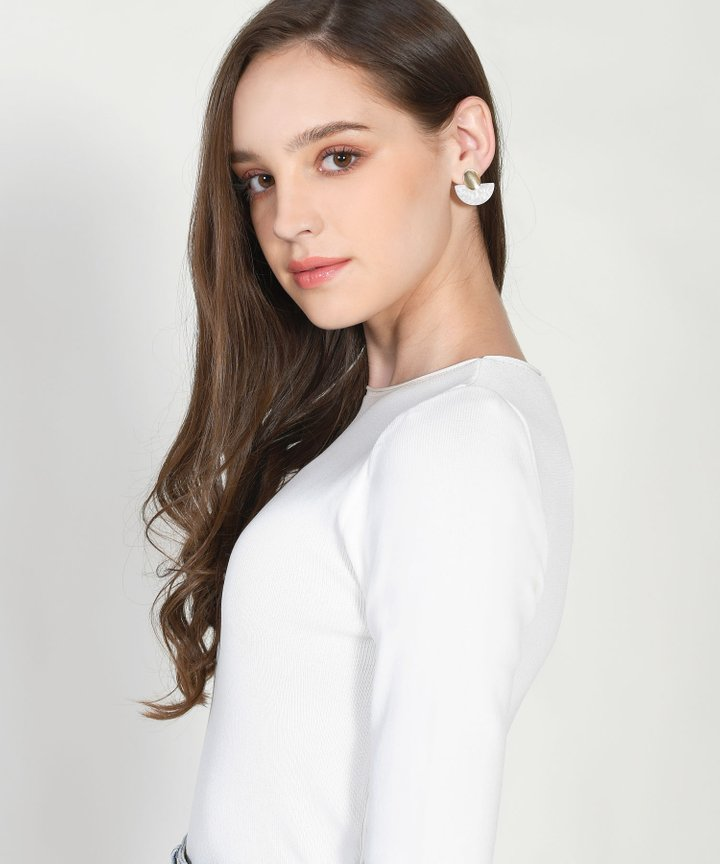 Rio Semi Circle Earrings - White